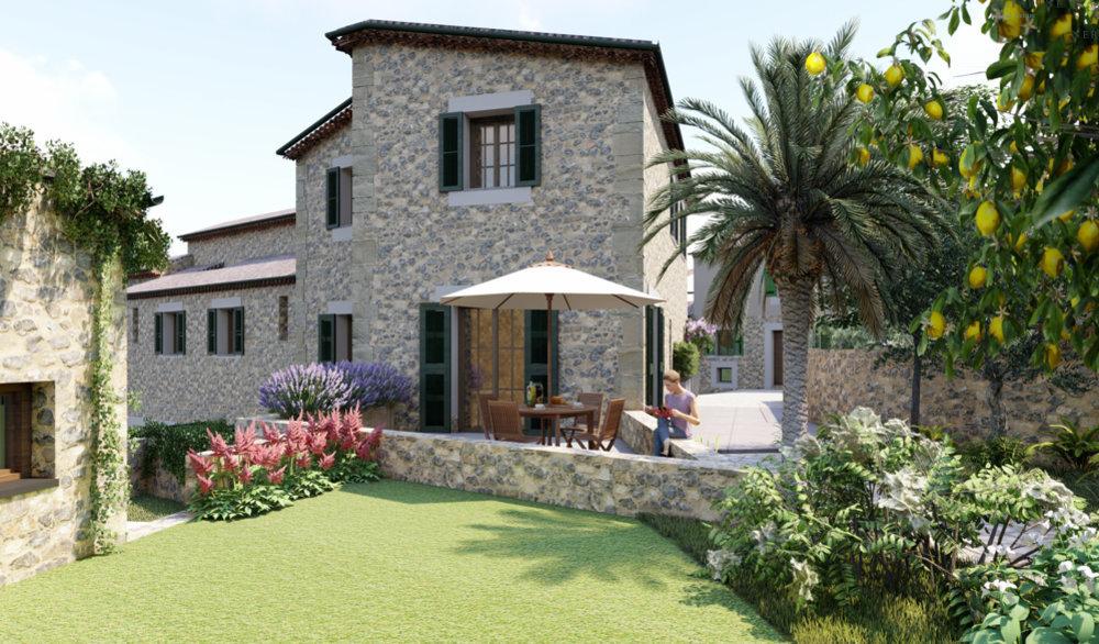 Promoción de 6 villas de piedra con jardín y piscina en Fornalutx